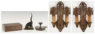 Arts and Crafts/ Art Deco Items Incl. Humidor, Sconces