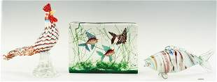 Murano Glass Aquarium, Rooster and Fish