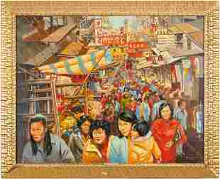 Ed Dollriehs O/C Painting, Lunch Hour, Hong Kong