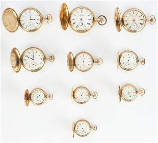 10 Pocket Watches, incl. Elgin, Waltham & Illinois
