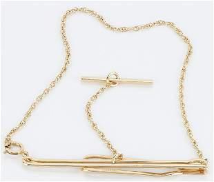 Men's 14K Tie Bar Clip w/ Swag Chain