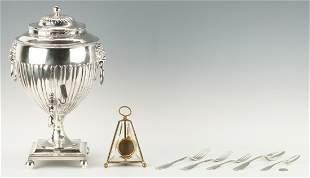 Sheffield Tea Urn, 5 Coin Silver Items, & Watch Hutch