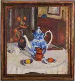 "Clara Newman Still Life, ""Old China,"" Exhibited Hoosier"