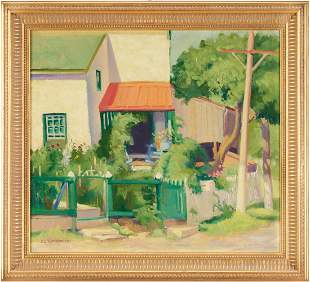 Ida Geyler Tollenger O/C Painting, Landscape with House