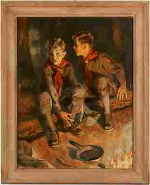 Boy Scout Illustration Art Painting, Schafer