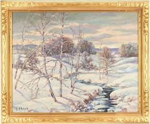 George Bobholz O/C, Winter Landscape