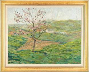 O/C Spring Cherry Tree Landscape Painting, Signed