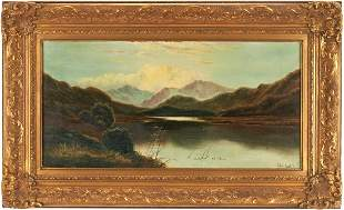 Charles Leslie O/C Painting, English Lake Scene