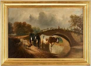 Pastoral Oil Landscape, Cows & Sheep by Bridge