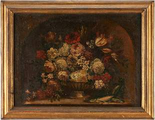 European Floral Still Life with Fish