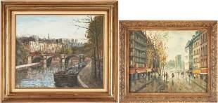 2 European O/C Street Scenes incl. Claude Montier