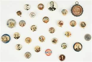 28 Political Ephemera Items, incl. McKinley, Roosevelt,