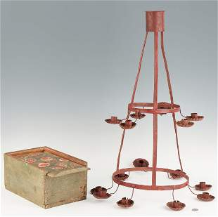 Painted Tin Primitive Chandelier and Candle Box