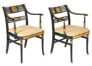 Pair Paint Decorated Sheraton Style Armchairs