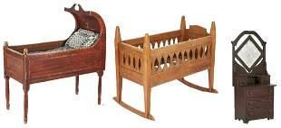 Paint Decorated Crib, Cradle, & Miniature Dresser