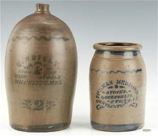 WV Cobalt Decorated Stoneware Jug & Jar, Medford &