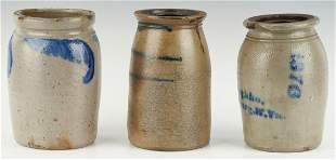 3 Mid Atlantic/West VA Cobalt Decorated Jars