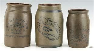 3 PA & WV Hamilton Stoneware Jars