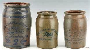 3 Williams & Reppert, Greensboro, PA Stoneware Jars