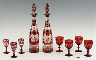 Group Bohemian Ruby Flashed Decanters & Goblets