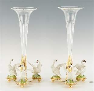 Pair Cain Collection Trumpet Vase Centerpieces w/ Swans