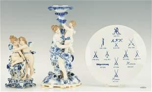 Figural Candlestick, Meissen Plate & Cherub