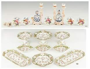 Porcelain Dessert Set, Nodder Candlesticks and Tiebacks