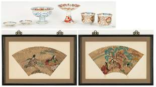 Japanese Porcelain and Fan Paintings, 6 items