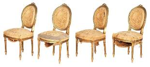 4 Louis XVI style giltwood chairs