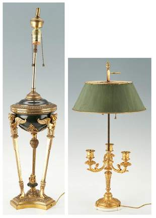 2 Neoclassical Style Lamps, incl. French tole