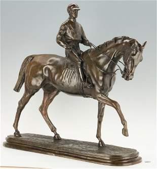 After P.J. Mene, Bronze Sculpture Horse & Jockey