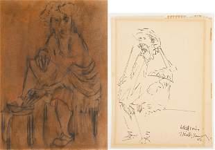 2 Portrait Drawings, incl. Zero Mostel