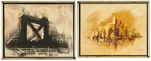 2 American O/C Abstract Paintings, signed Garret