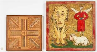 Folk Art Carved Lion & Lamb plus Marquetry Game