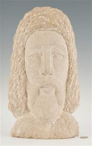 Folk Art Carved Limestone Sculpture of Christ, David