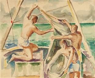 Gus Baker Watercolor of Men on Sailboat