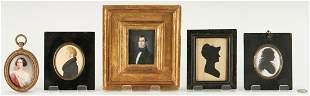 3 Miniature Portraits plus 2 Silhouettes
