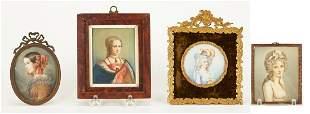 4 Signed Portrait Miniatures, incl. Lady Jane Grey