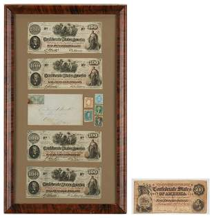T-64 $500 CSA Note, Framed Currency and Stamps, incl.