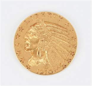 1910 US $5 Dollar Indian Head Gold Coin