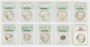 10 PCGS or ANA Graded Coins, incl. Morgan Dollars