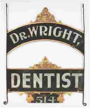 Large Painted Wood & Iron Dentist Trade Sign