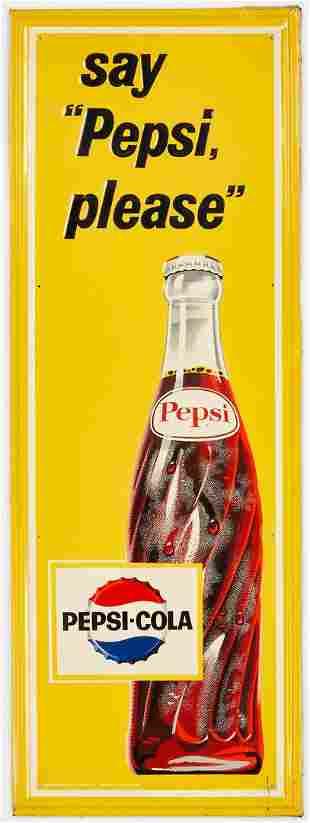 Pepsi Cola Advertising Sign, Say Pepsi Please