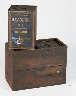 2 Havoline 5-Gallon Oil Cans & Crate