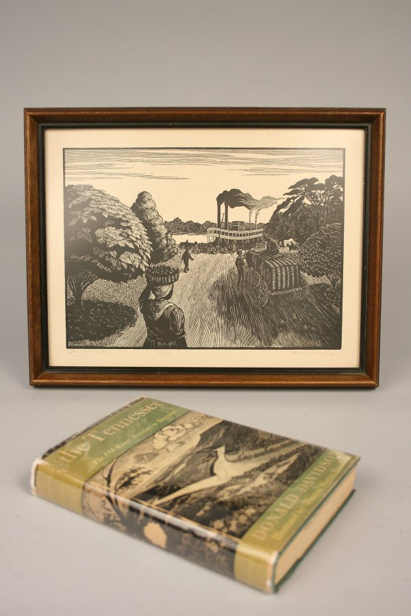 1: Book & Woodblock Print, The Tennessee - Steamboat