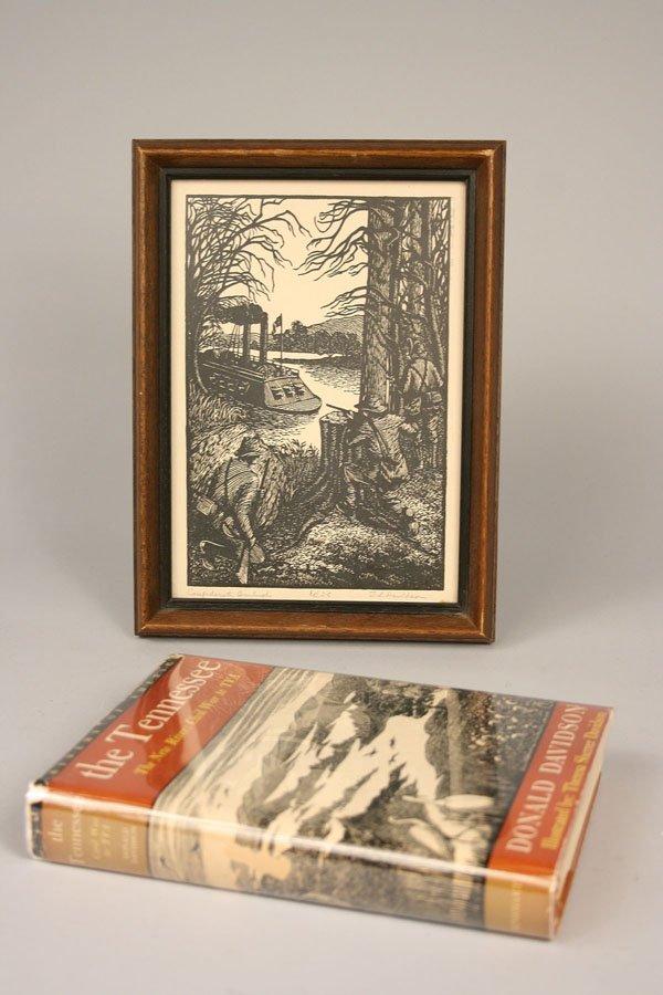 2: Book & Woodblock Print - Confederate Ambush