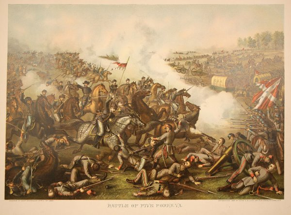 4: Kurz & Allison lithograph, Battle of Five Forks