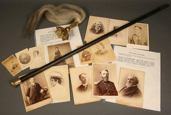 19: Gold handled walking stick, Cavalry helmet plume &