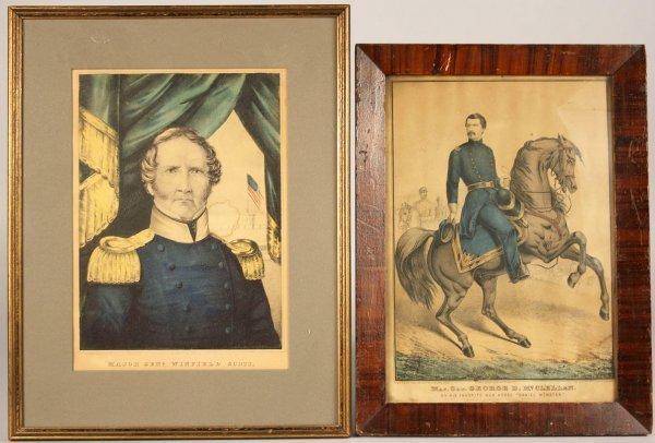 8: Kellogg prints of Generals McClellan and Scott