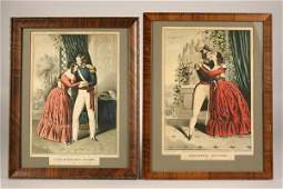 9 Pair of lithographs  Currier soldier prints